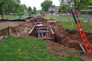 Installation of the steam and condensate return pipe began on May 27.