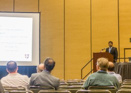 """Chemistry graduate student Duminda Ranasinghe spoke about his research on """"Density functional for core-valence correlation energy."""""""