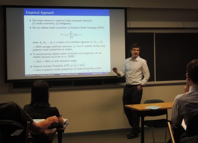 New faculty member David Kuenzel, assistant professor of economics, spoke.