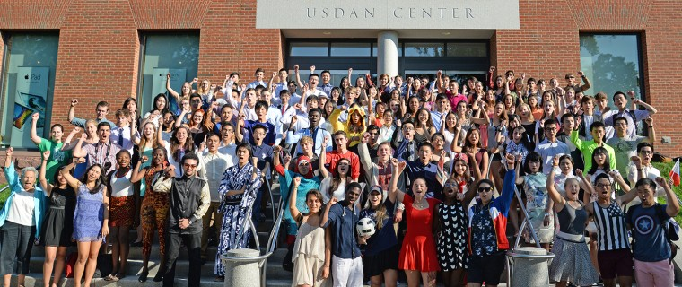 "International students shout ""Go Wes!"" during their orientation Aug. 26 at Usdan University Center."