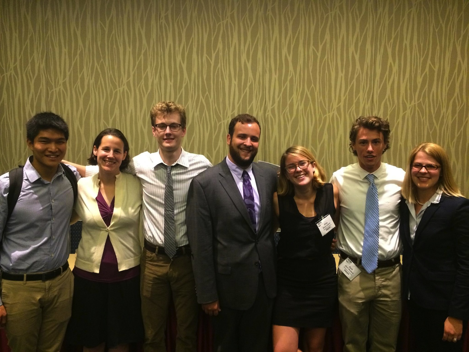 Leonid Liu '14, Laura Baum, P. Marshal Lawler '16, Michael Linden '15, Eliza Loomis '15, Zachary Wulderk '15, Erika Franklin Fowler at the American Political Science Association meeting.