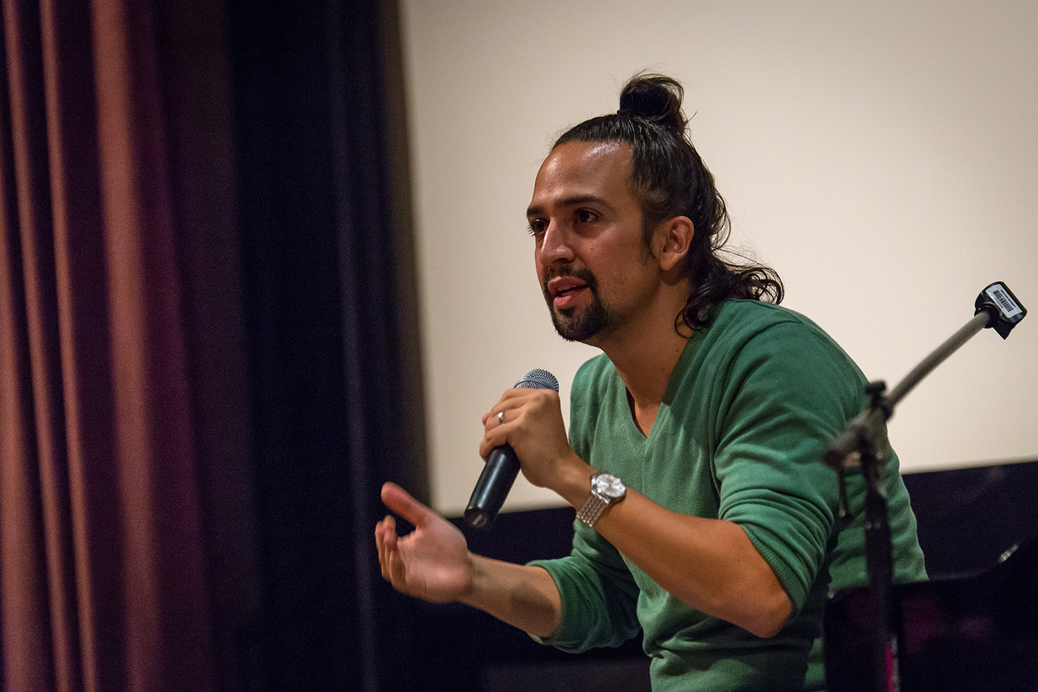 "On Sept. 23, Tony Award-winning composer/lyricist and actor Lin-Manuel Miranda '02 spoke about the creation of the musical In The Heights during his time at Wesleyan. His talk, ""When You're Home: A Look Back at the Origins of In the Heights,"" was sponsored by the Theater Department and Center for the Arts."