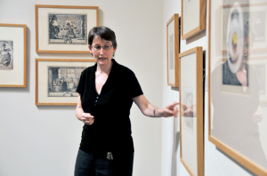 Clare Rogan, curator at the Davison Art Center, leads a gallery talk.