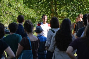 Greg Tavarez '16 leads a campus tour on Sept. 26. (Photos by Olivia Drake)
