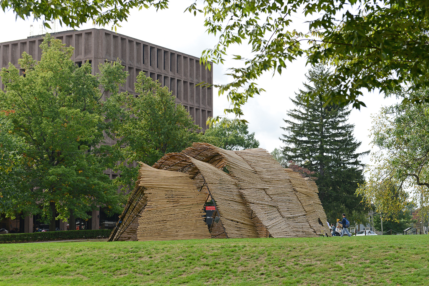 WesSukkah, pictured here on Oct. 7, is a temporary structure located on the lawn of Olin Library.