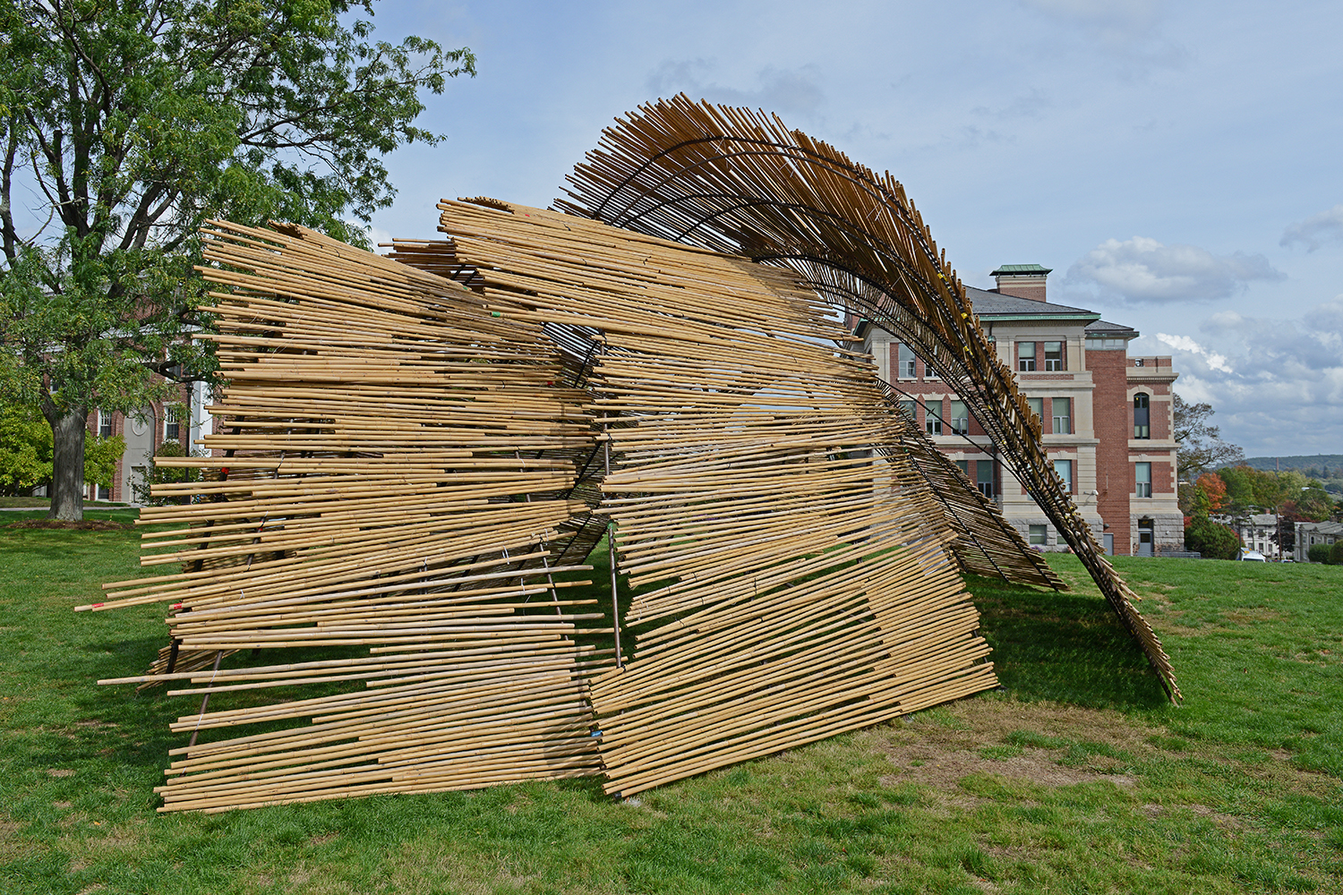 During Sukkot, the Jewish community celebrates the Israelites 40-year journey to the Holy Land inside the bamboo structure.  WesSukkah provides a sacred space that adheres to a complex, medieval Rabbinic building code.