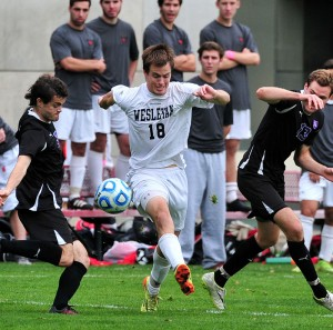 "Scoring the ""golden goal"" in the 95th minute during Wesleyan's Homecoming game Oct. 18, Adam Cowie-Haskell '18 netted his fourth goal of the year and second game-winner in propelling men's soccer past Amherst 2-1."