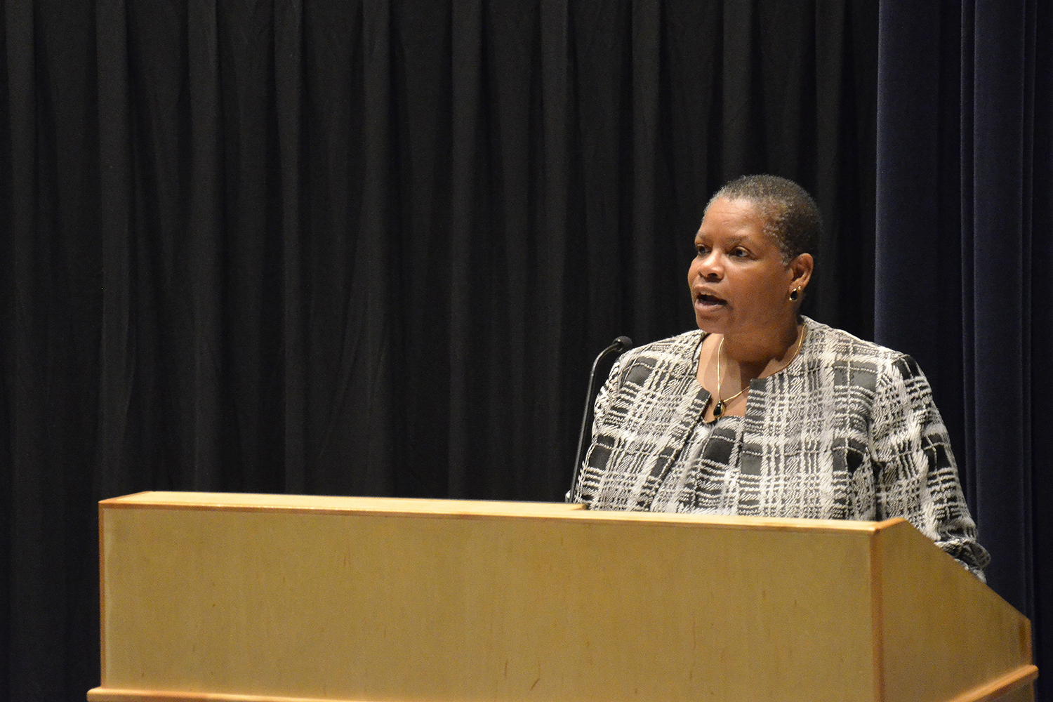 Trustee Joyce Hall '78, a former Black Alumni Council Chair, introduced Garcia to the audience.