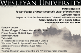 "Wesleyan will present ""To Not Forget Crimea: Uncertain Quiet of Indigenous Crimean Tatars"" Oct. 24. The event includes a panel discussion, faculty dance concert and talkback."