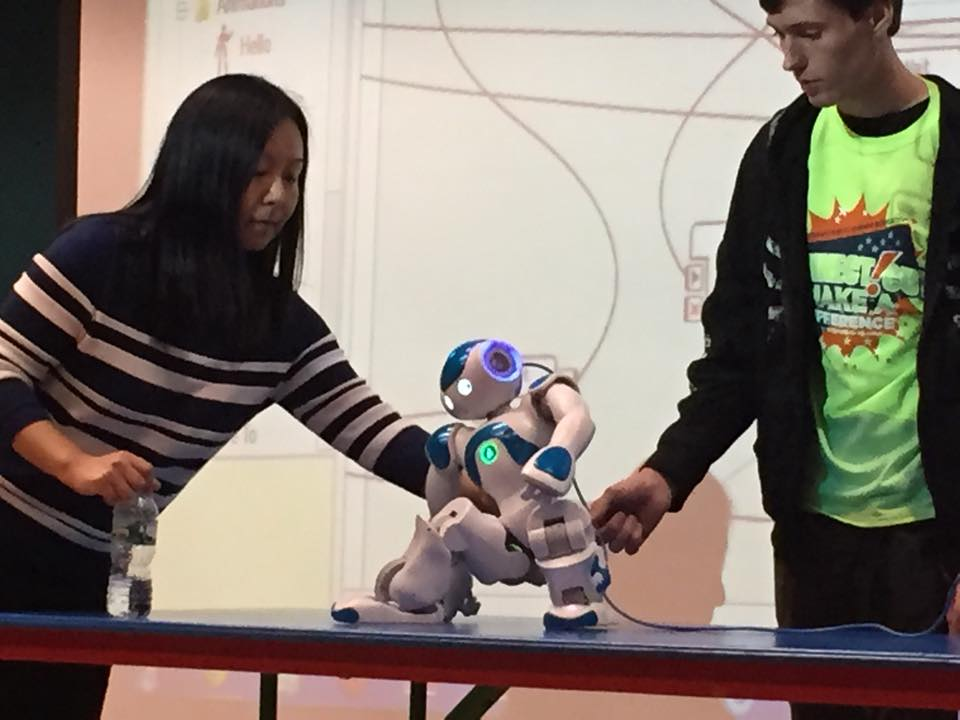 """On Oct. 20, children at Wesleyan's Green Street Arts Center were treated to a robot demonstration led by students from Middlesex Community College. The robot, named Mixy, put on a show for the kids ranging from following basic commands to displaying his tai chi moves. Wesleyan students assisted with the presentation.  The Middlesex Community College students visited Green Street as part ofConnecticut's """"Public Higher Education Makes a Difference Week."""" Taking place Oct. 19-25, this statewide program celebrates and promotes civic engagement while developing students' citizenship skills, forging community partnerships and integrating service learning and volunteering at Connecticut's public colleges and universities. It culminates on Oct. 25 with """"National Make a Difference Day."""""""