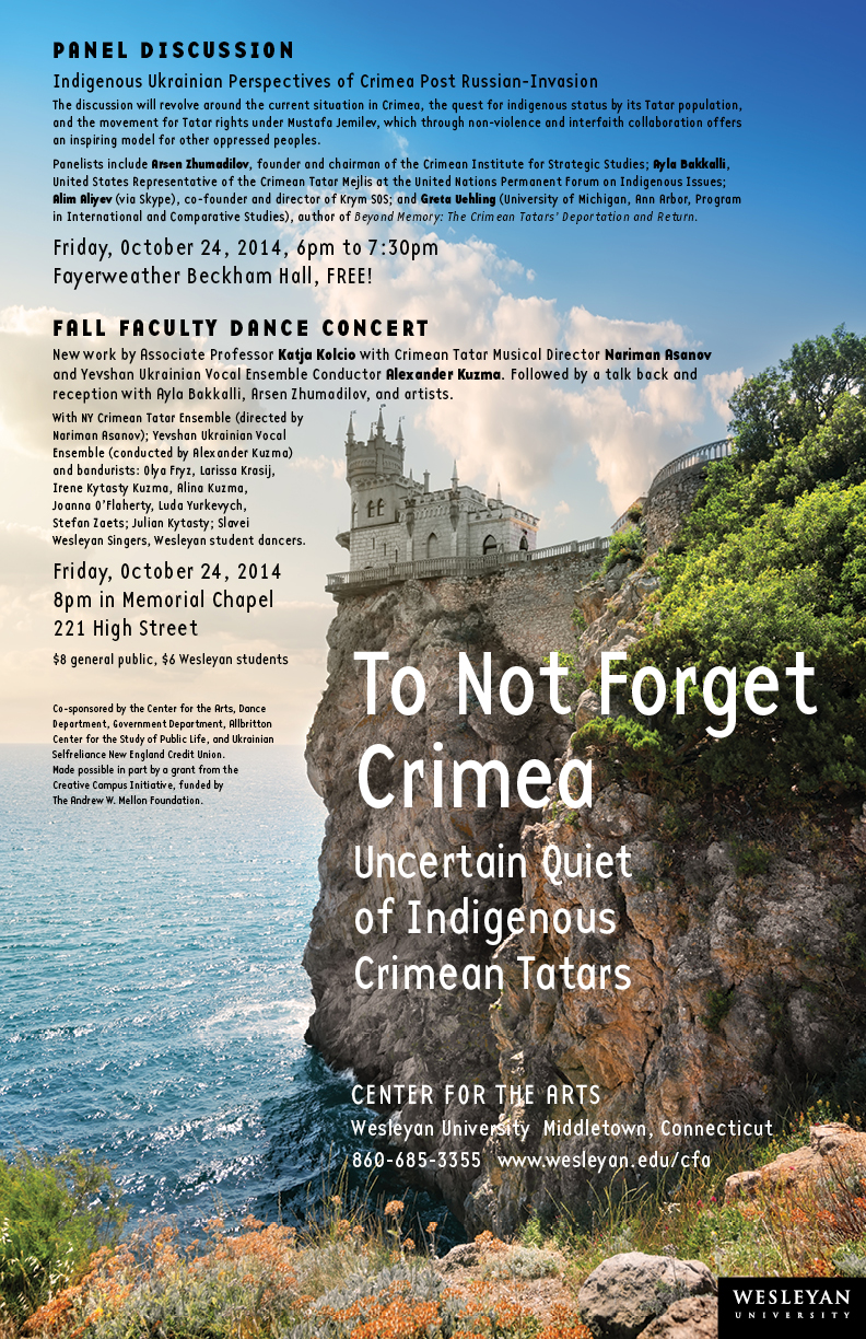 "Wesleyan will present ""To Not Forget Crimea: Uncertain Quiet of Indigenous Crimean Tatars"" Oct. 24. The event includes a panel discussion, faculty dance concert/multimedia presentation and reception."