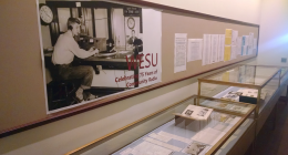 """The exhibit """"WESU: Celebrating 75 Years of Community Radio,"""" is on display in Olin Library and is part of WESU's 75th anniversary celebration."""