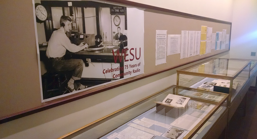 "The exhibit ""WESU: Celebrating 75 Years of Community Radio,"" is on display in Olin Library and is part of WESU's 75th anniversary celebration."