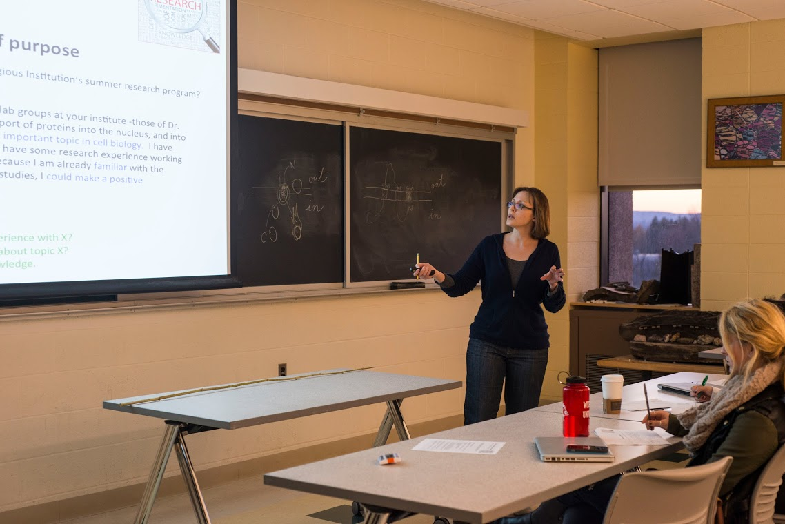 On Nov. 17 and 19, Ruth Johnson, assistant professor of biology, spoke to sophomores and juniors about applying to summer research programs. During the two-session workshop, Johnson discussed ways to write successful applications for summer programs at U.S. research institutions.