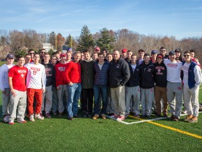 Jim, Teddy and Oliver Citrin joined Wesleyan head men's lacrosse coach John Raba and members of the 2015 team during the festivities.