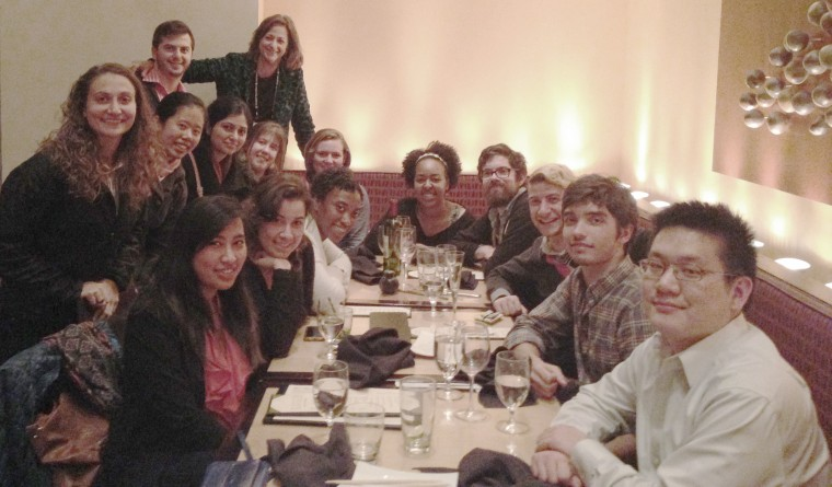 A Wesleyan group gathered for a neuroscience/biology reunion dinner Nov. 19 in Washington, D.C.