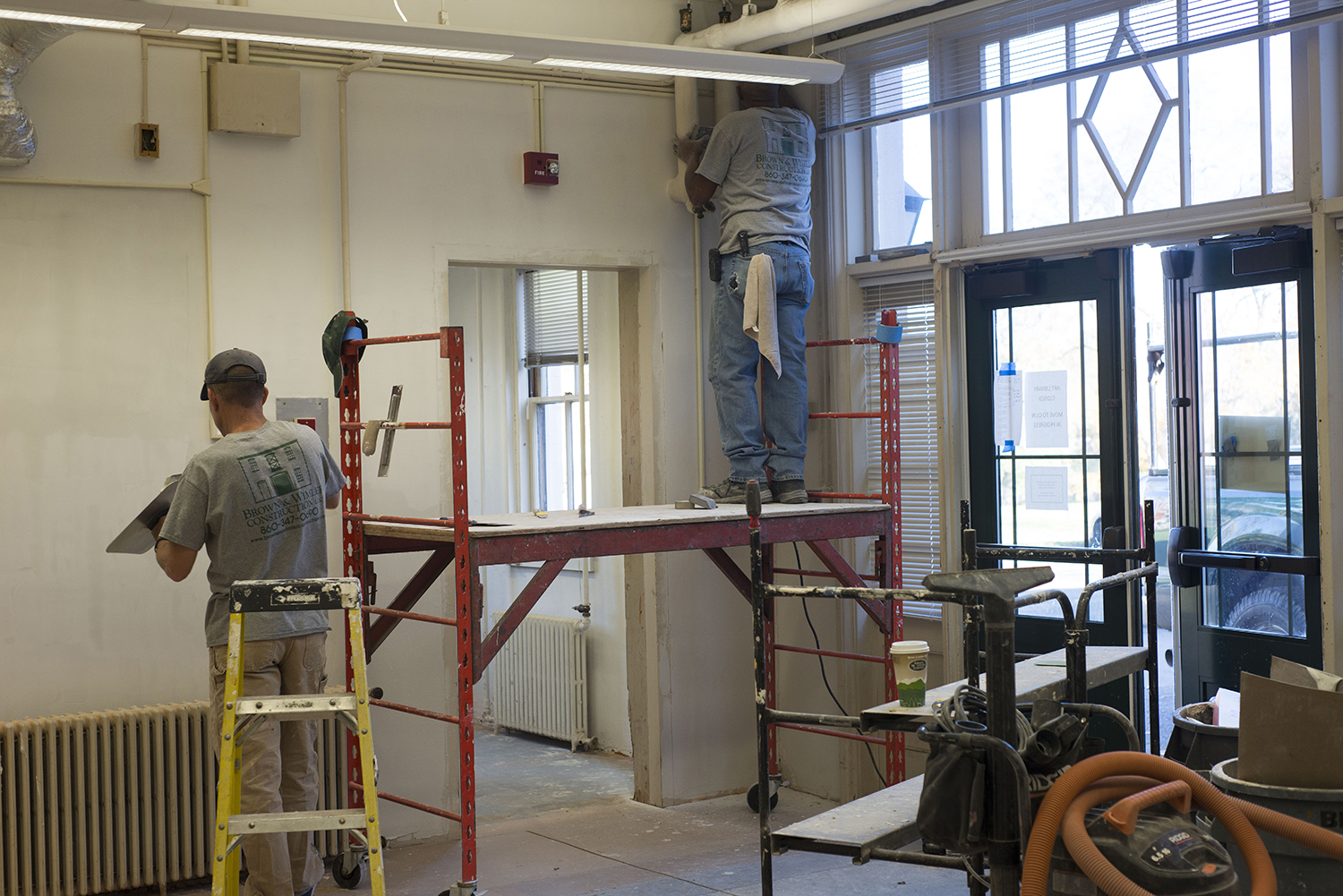 Contractors are working to restore and transform theDavison Art Center's carriage house section into a Digital Design Studio. The space formerly housed the Art Library