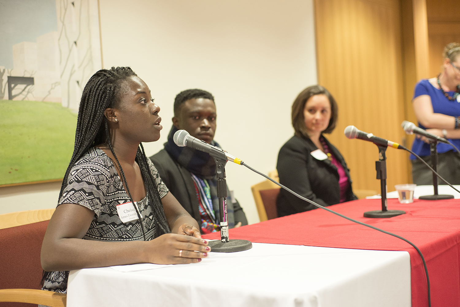 Tiffany Aquino of Unite for Sight; Shadrack Frimpong of Healthy Africa; and Chelsea Tweneboah '15 of Cape Coast Regional Hospital in Ghana participated in a healthcare panel. The talk was moderated by Laura Ann Twagira, assistant professor of history.