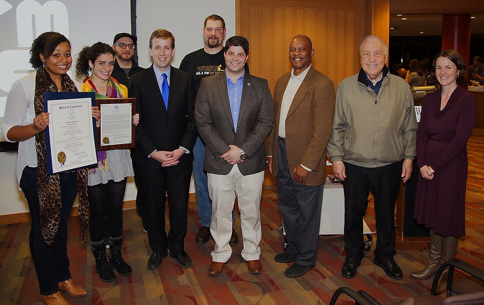 88.1 FM WESU student volunteers and staff celebrated the non-commercial radio station's 75th anniversary on Nov. 2 with several elected officials.