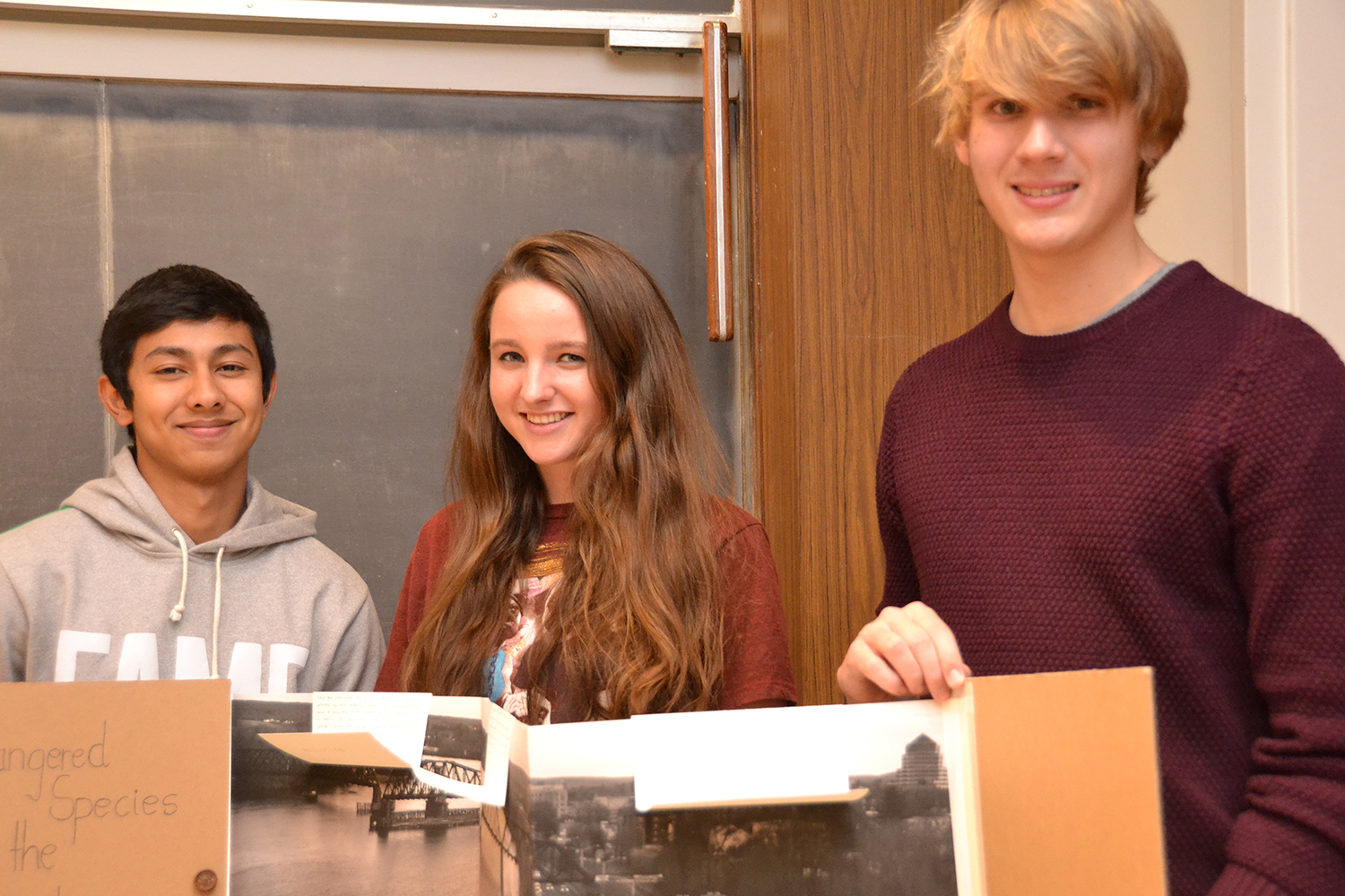 From left, Kush Sharma '18, Emily Blaker '18 and Christopher Wyckoff '18.