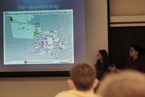 During the group presentations, Katy Thompson '15, Rebecca Sokol '15, Chloe Holden '15 and DeNeile Cooper '15 discussed ways they've incorporated student-manged land areas into the Wesleyan campus maps.