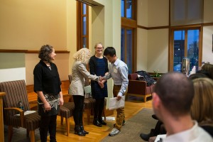 Sangsan Warakkagun '15 accepts his Phi Beta Kappa membership.