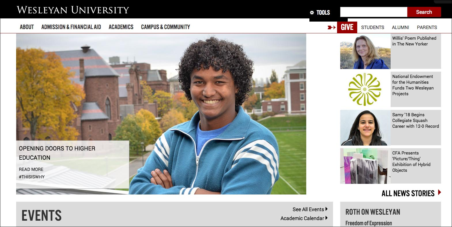 The new Wesleyan homepage has been designed responsively, meaning that it adapts depending upon whether users are viewing it on desktops, tablets, smart phones or other mobile devices.