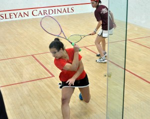 Samy, pictured here at the Division III Finals in 2004, began playing squash at the age of 7.