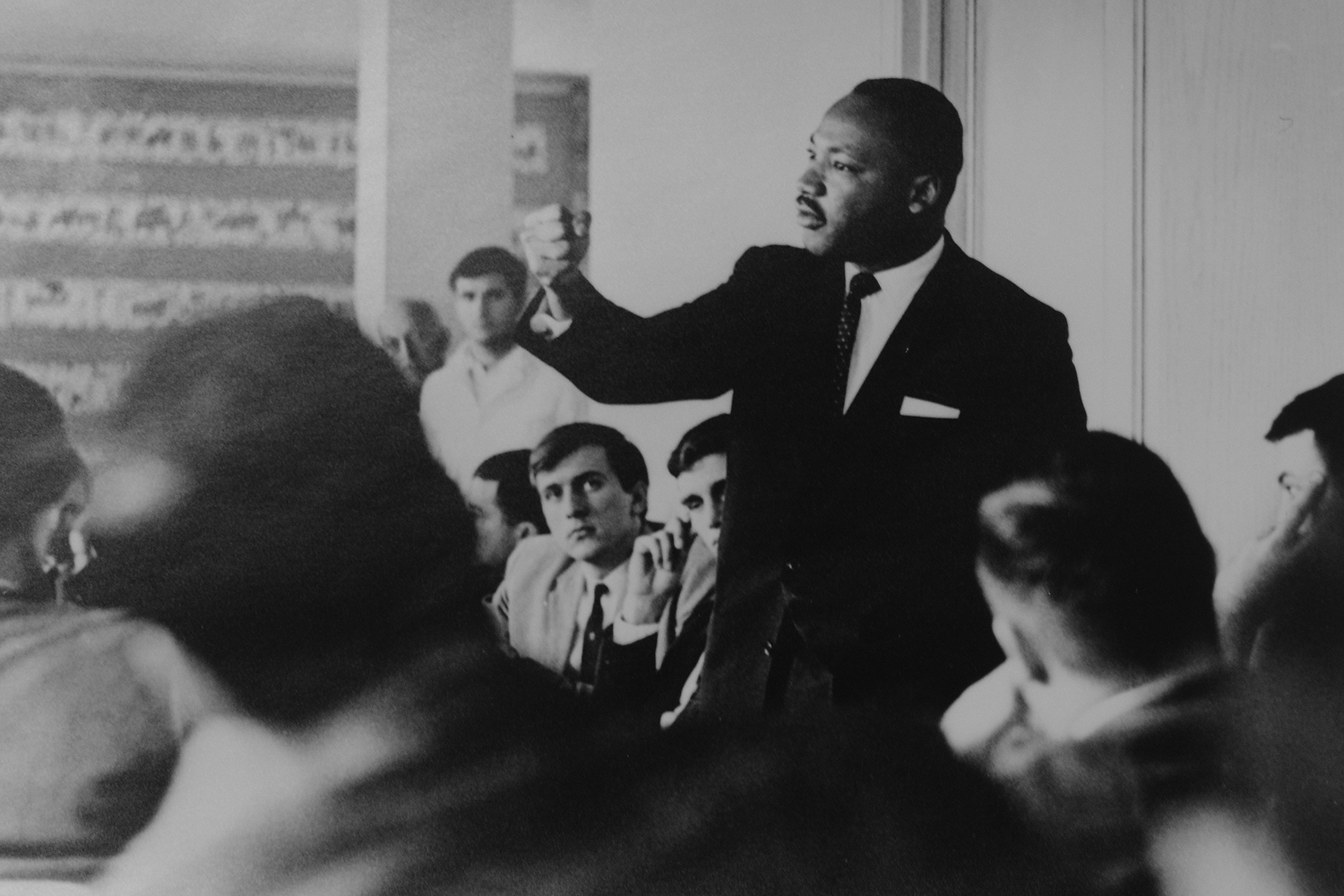 Dr. Martin Luther King, Jr. spoke at a College of Social Studies luncheon in 1964 and addressed a student rally later that day.