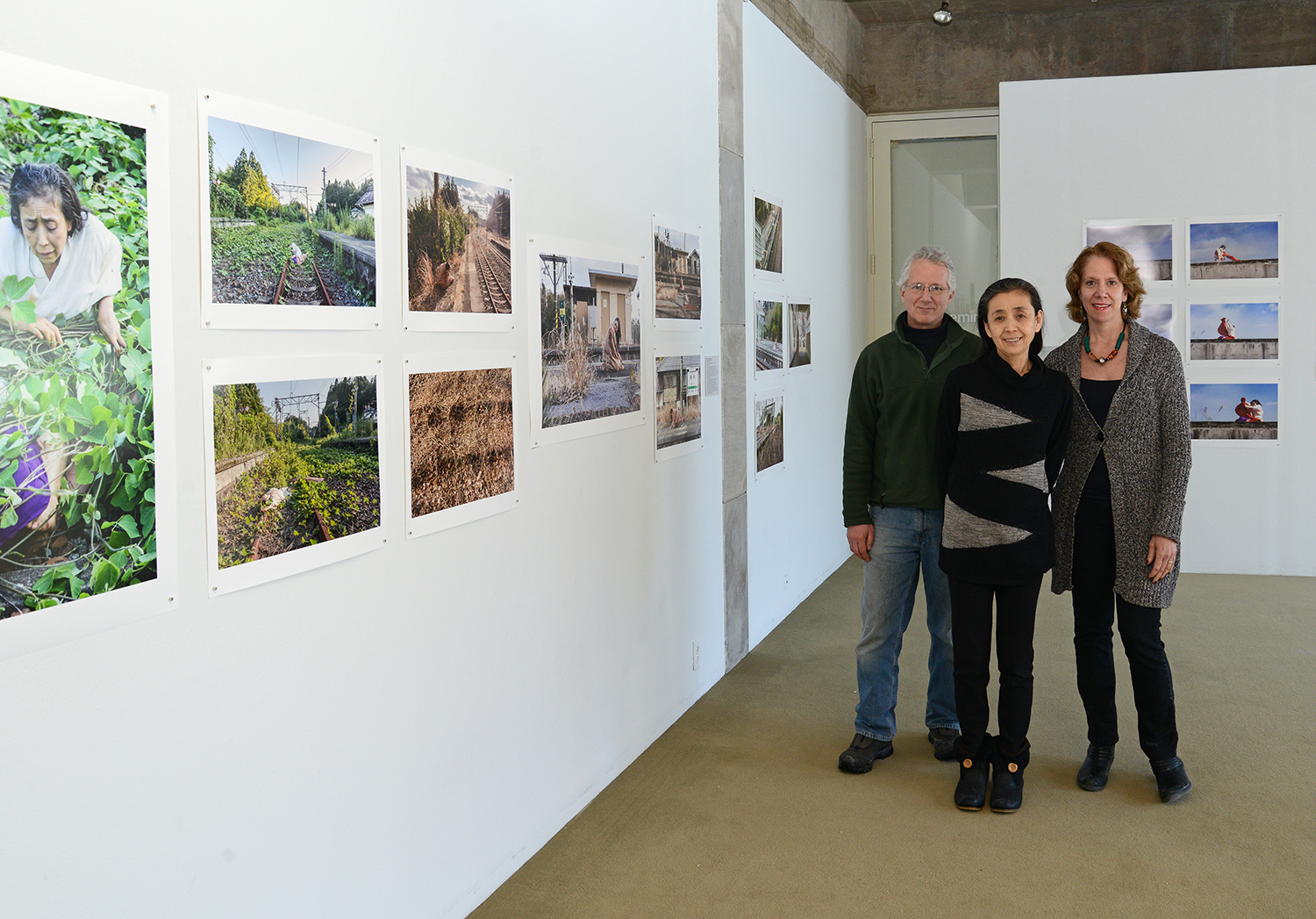 Pictured at the exhibit are Bill Johnston, Eiko Otake and Pam Tatge, director of the Center for the Arts,