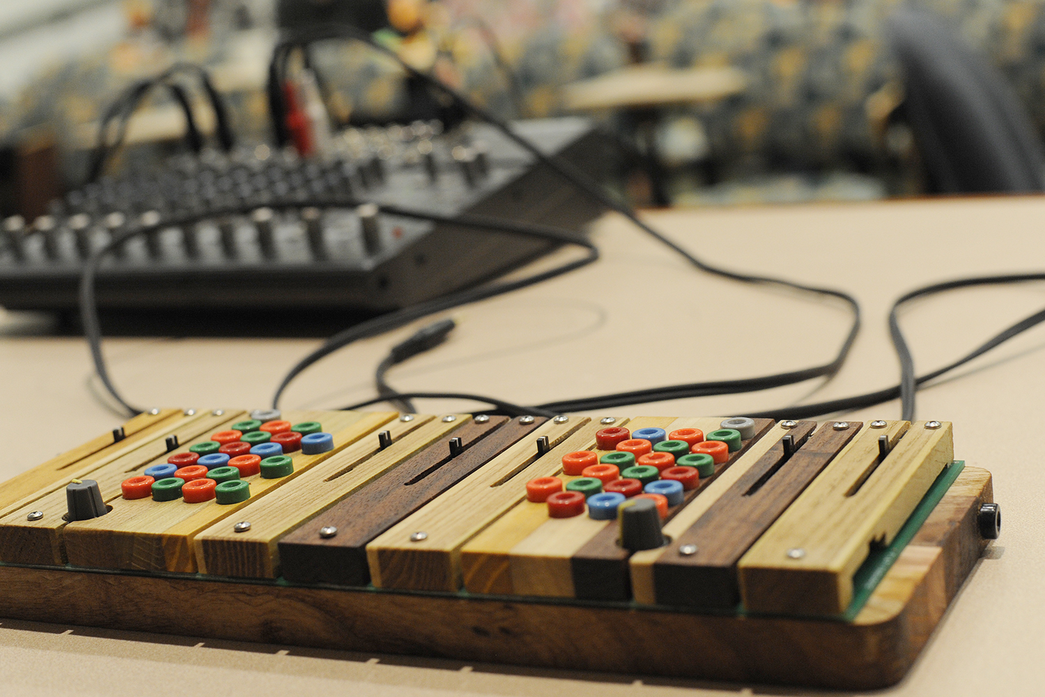 A finished instrument connected and ready to play.