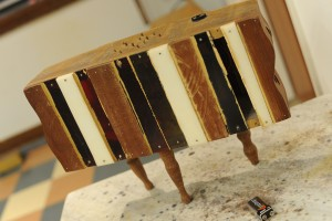 Blasser likes to work with wood, which is frequently used in his instruments.