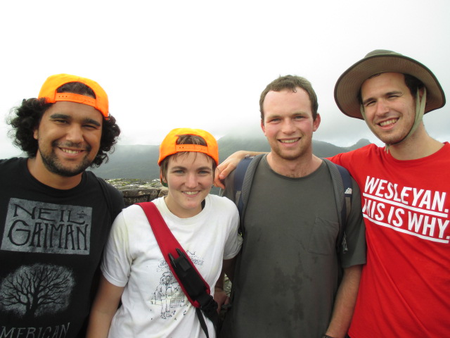 Pictured in Puerto Rico, from left, are Tavo True-Alcala '15, Kate Enright '15, Jack Singer '15, and Jamie Hall '15.