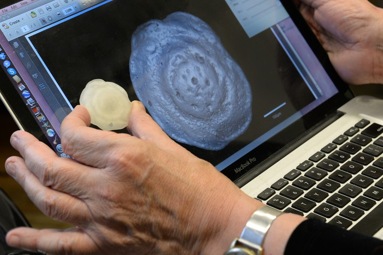 Ellen Thomas shows a 3-D print and 3-D pdf file of the extinct microfossil Nuttallides truempyi, which has been used extensively in geochemical studies Nuttallides lived on the seafloor in deep ocean water, as does its living descendant. Computer-aided visualizations are revolutionizing the way scientists study microfossils, allowing them to study and quantify many features of the specimens.