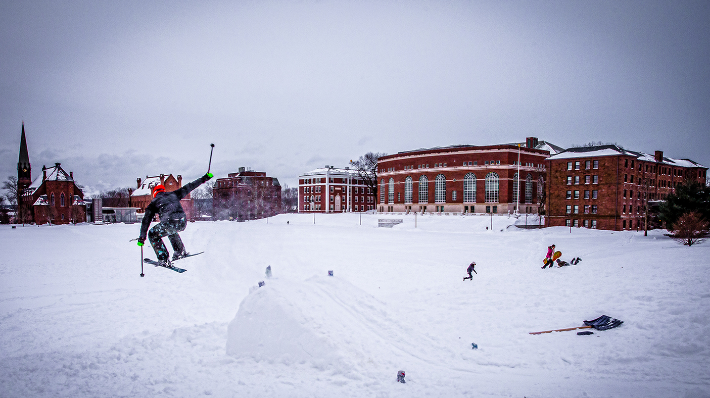 Ski jumping on Foss Hill. (Photo by Jack Gorlin '18)