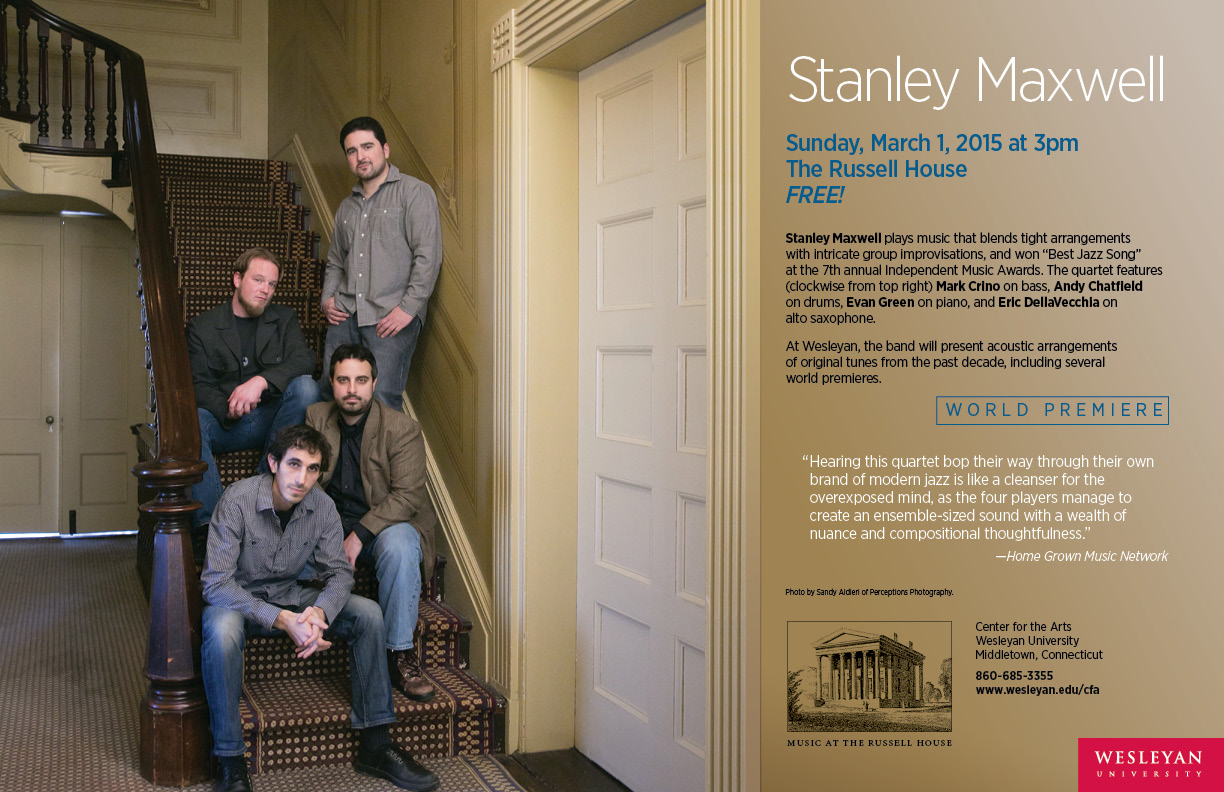 Jazz quartet Stanley Maxwell will perform at 3 p.m. March 1 in the Russell House.