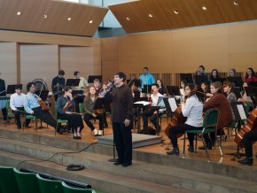 Adjunct Assistant Professor of Music Nadya Potemkina directs the Wesleyan University Orchestra.