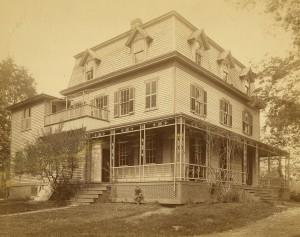 The Foss House, pictured above in the early 1900s, housed the Chi Psi fraternity in 1883 to 1893. The house was demolished in 1955.