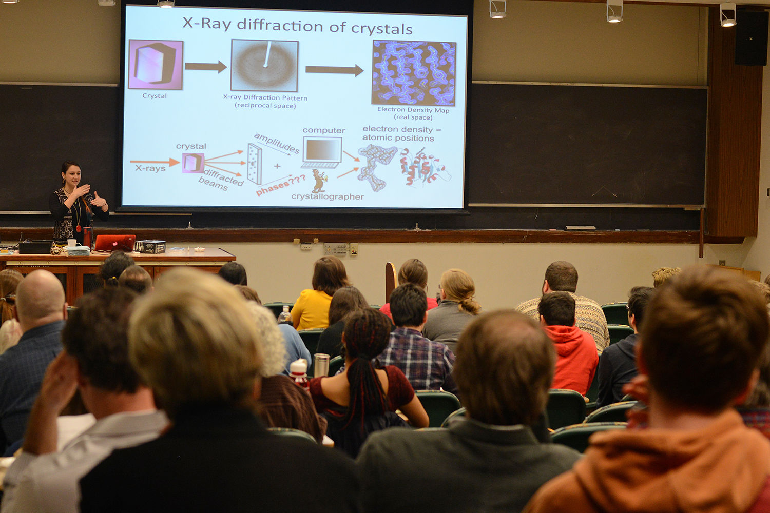 "Katie Kaus, a PhD candidate in molecular biology and biochemistry, spoke on ""Molecular Detectives: Investigating Protein Structure using X-ray Crystallography"" during the Graduate Student Speaker Series March 26 in Exley Science Center."