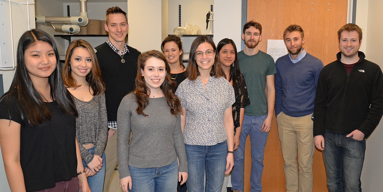 The Robinson Lab: Pictured, from left, Sarah Mi '16; Rebecca Tom '16;  Mike Robinson; Hannah Maniates '16; Caroline Mead '15; Ellen Lesser '15; Aime Arroyo-Ramirez '16; Jeremy Levit '15; Fred Ayres '17 and lab manager Adam Fischer.