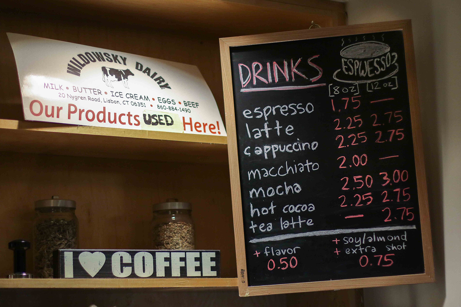 Lower prices keep the premium coffee and specialty drinks affordable.