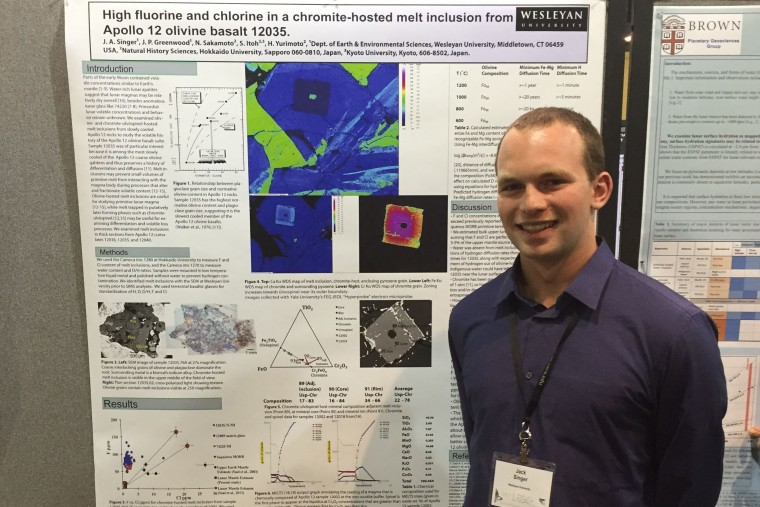 "Jack Singer '15 presented a poster titled ""High fluorine and chlorine in a chromite-hosted melt inclusion from Apollo 12 olivine basalt 12035."" He was supported by NASA Connecticut Space Grant and is the McKenna Scholar in E&ES. Jim Greenwood is his advisor."