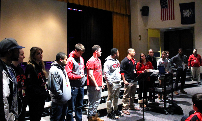 Wesleyan student athletes made an appearance at Woodrow Wilson Middle Middle School to share inclusive, accepting social values with other students. (Photo courtesy of Kathleen Schassler/The Middletown Press)