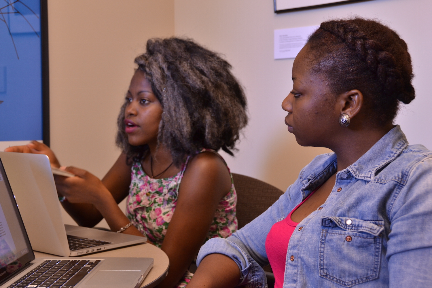 Claudia Kahindi '18, left, and Olayinka Lawal '15 will use a Davis Projects for Peace grant to launch an English education project in Kenya this summer. (Photo by Cynthia Rockwell.)
