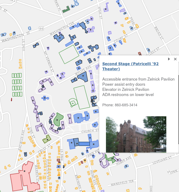 The interactive map provides information about every building on campus.