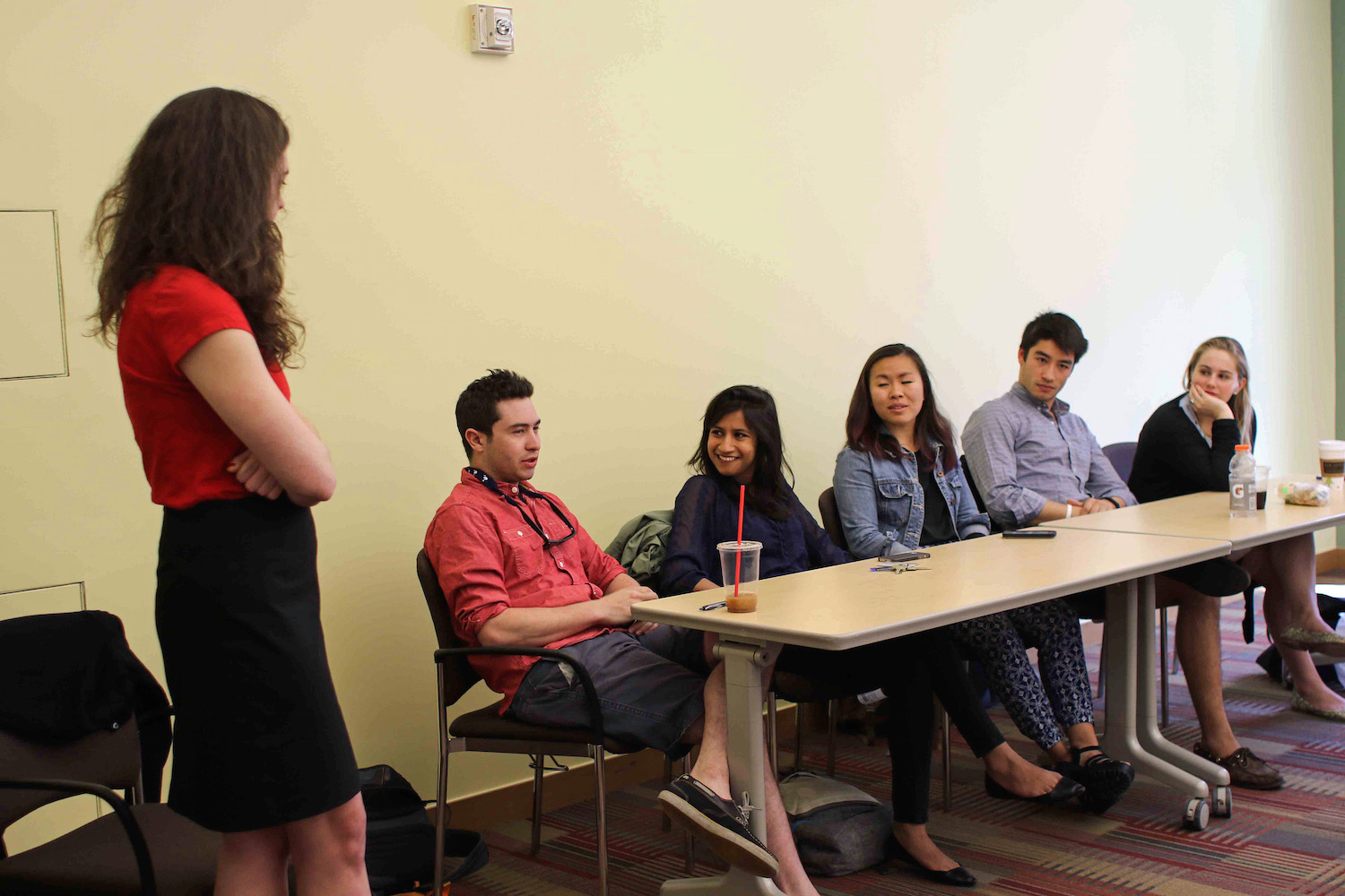Students discussed their experiences at Wesleyan in the student-to-student panel, April 15.