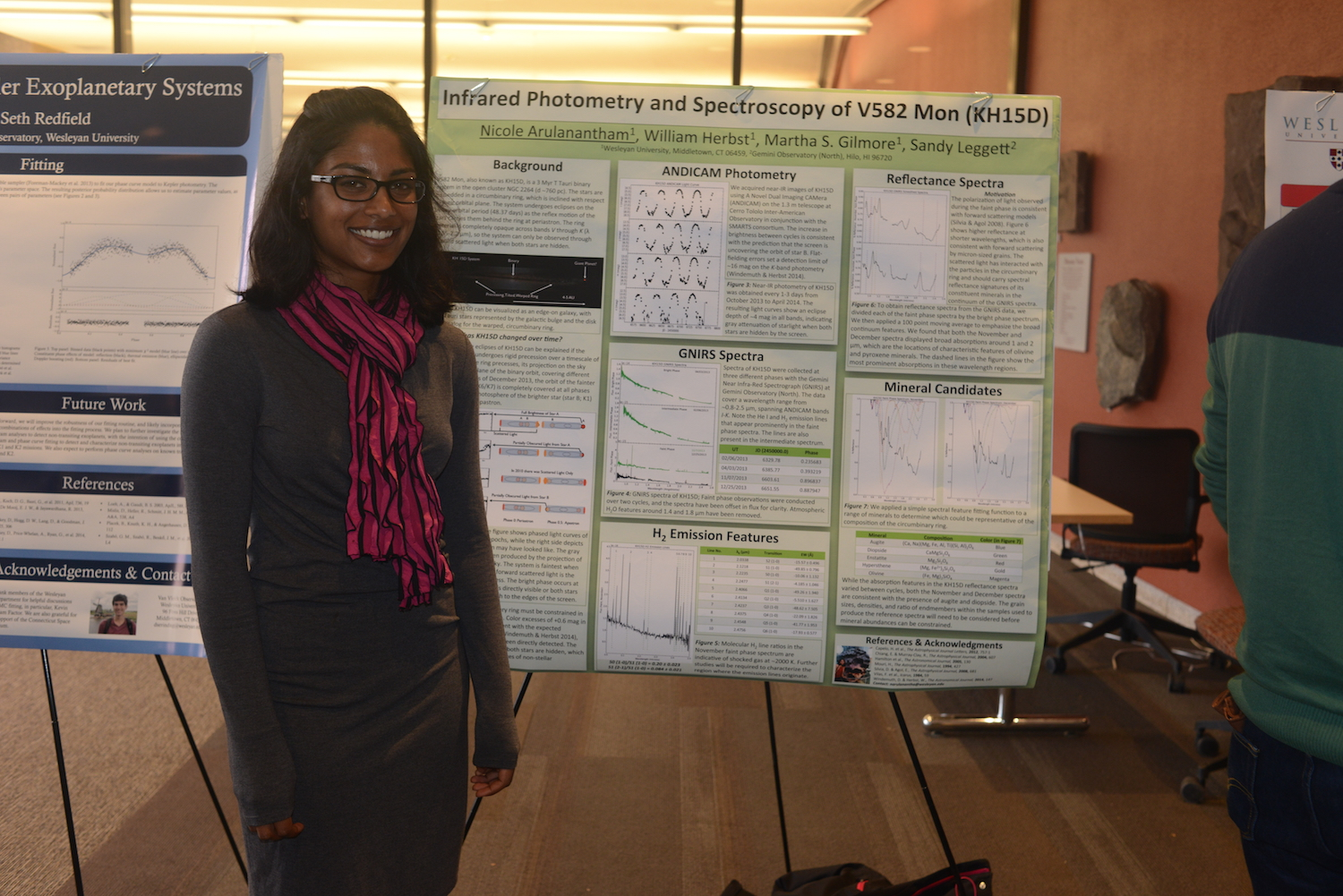 "Graduate student Nicole Arulanantham presented her research, ""Infrared Photometry Spectroscopy of V582 Mon (KH15D)."""