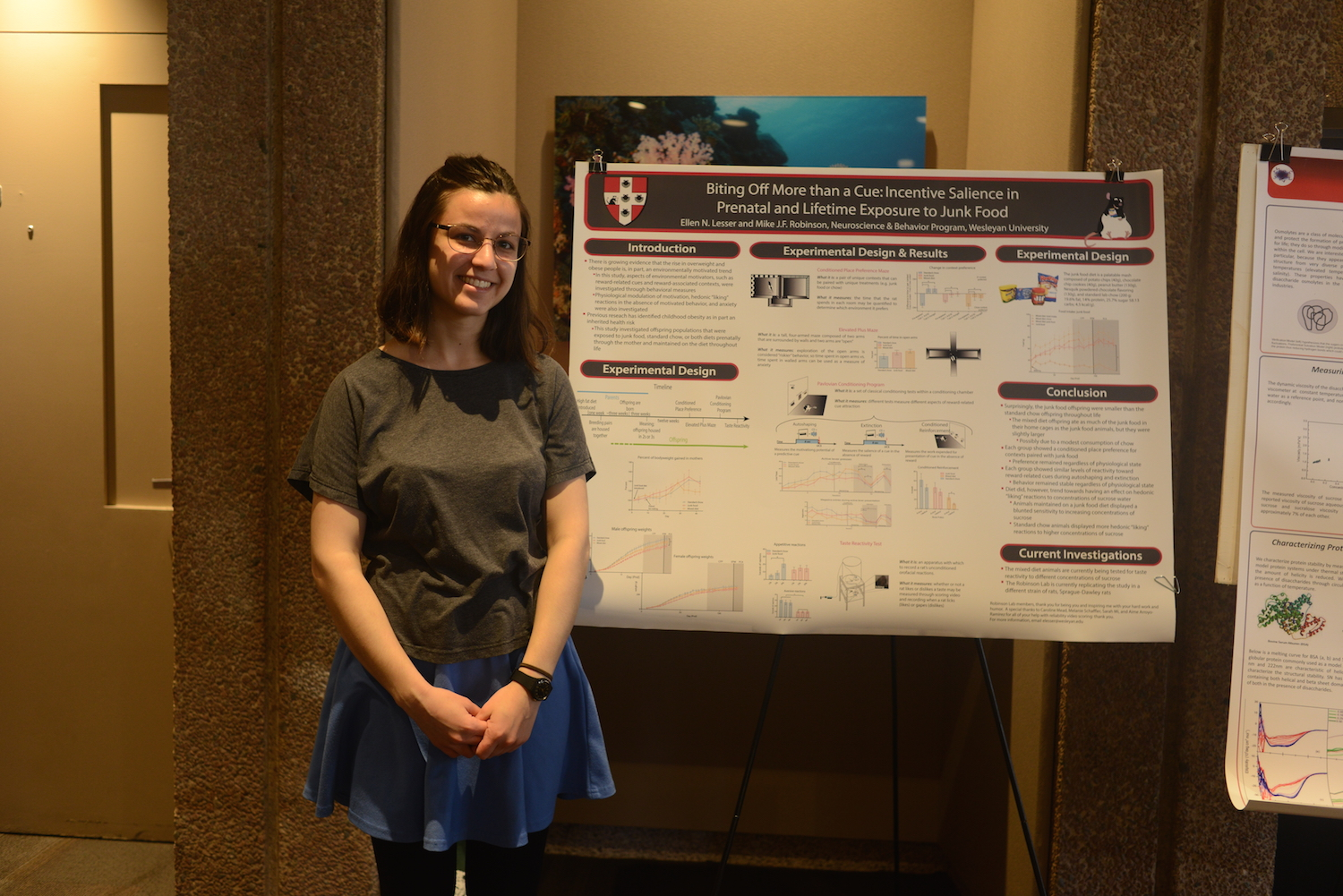 "Ellen Lesser '15 presented her research, ""Biting Off More Than a Cue: Incentive Salience in Prenatal and Lifetime Exposure to Junk Food."""