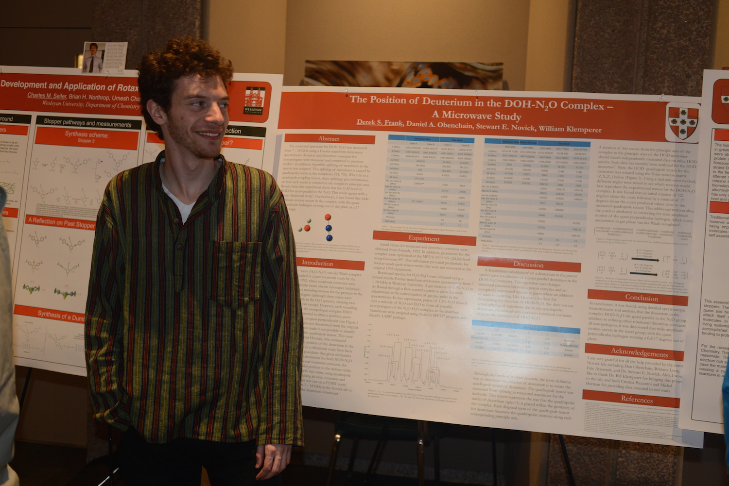 "Derek Frank '15 presented his research on ""The Position of Deuterium in the DOH-N20 Complex--A Microwave Study."""
