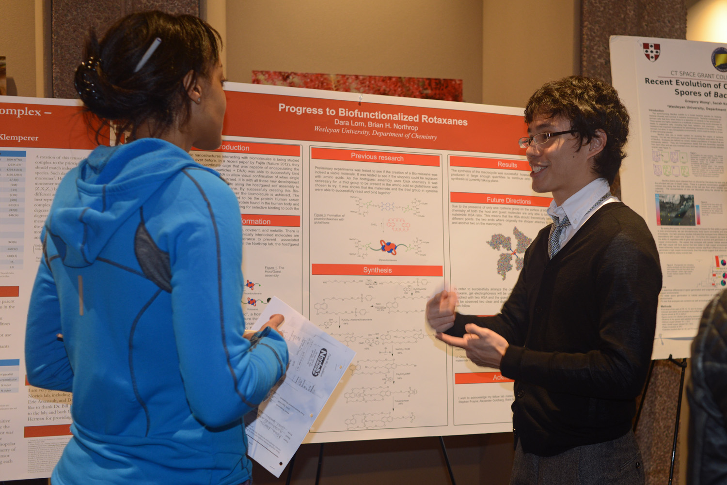 "Dara Lorn '15 discussed his research, ""Progress to Biofunctionalized Rotaxanes."""